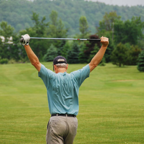 Golfer stretching